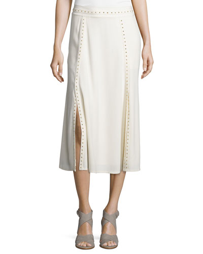 Studded Paneled Midi Skirt, Cream