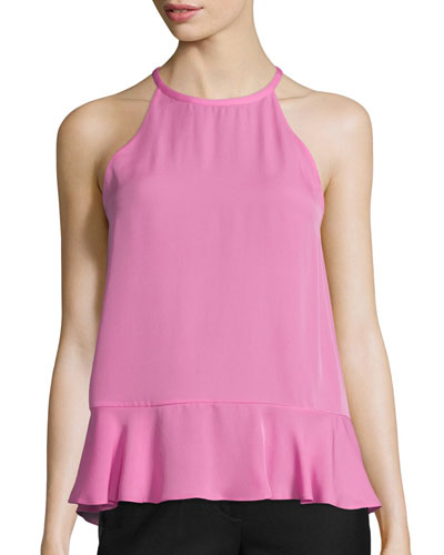 Lizzy Silk Grecian Tank Top, Cassis Pink