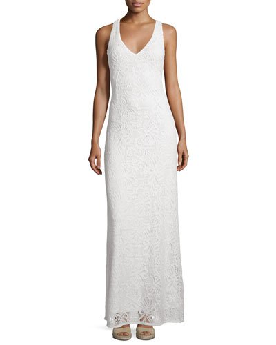 Aster Knit Lace Racerback Maxi Dress, White
