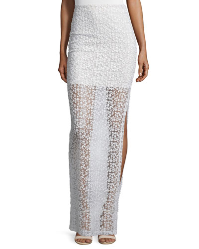 Misha Sheer Floral-Embroidered Maxi Skirt, Cream