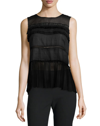 Fae Sleeveless Embellished Blouse, Black