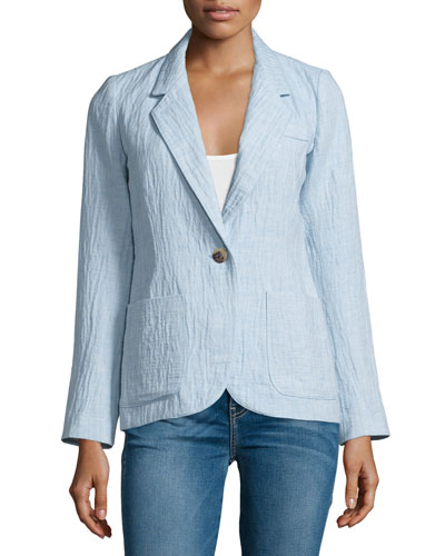 Dickens One-Button Blazer, Chambray