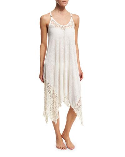 Lace-Trim Knit Coverup Dress