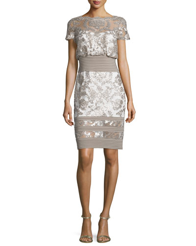 Short-Sleeve Sequined Lace Dress, Sand/Ivory