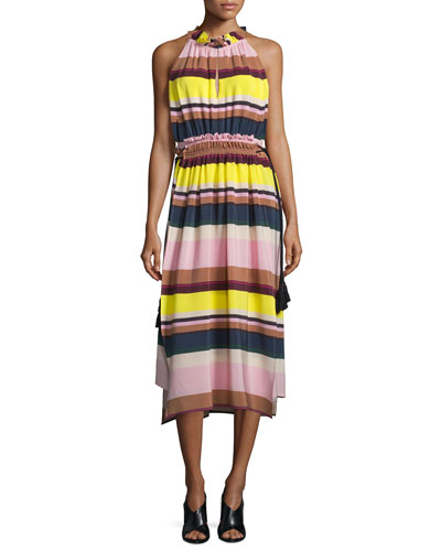 La Rosa Striped Midi Dress, Bright Lights