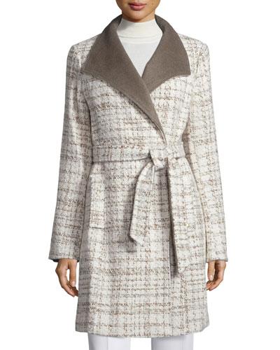 Novelty Wool Wrap Coat, Taupe