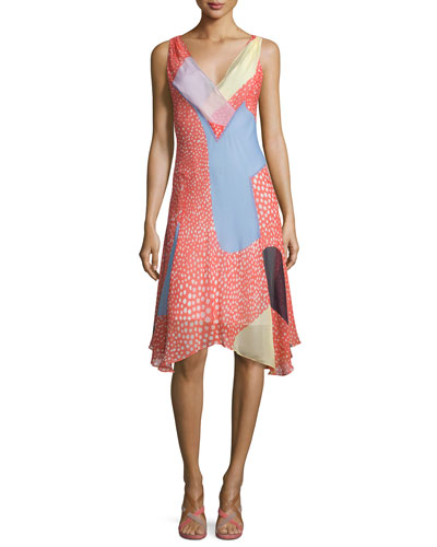 Dita Sleeveless Silk Patchwork Dress