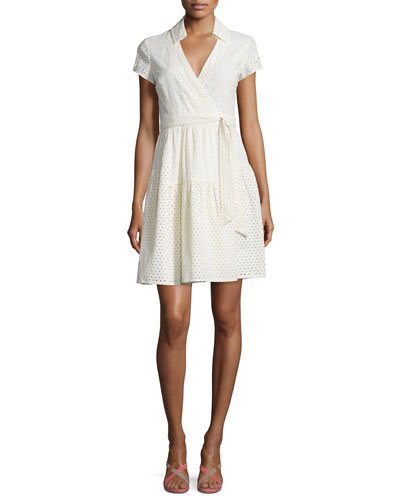 Kayley Two Eyelet Wrap Shirtdress, Ivory