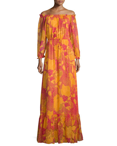 Camila Off-the-Shoulder Flower Power Maxi Dress, Fuchsia