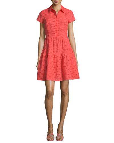 Skylar Short-Sleeve Eyelet Dress, Ocean Coral
