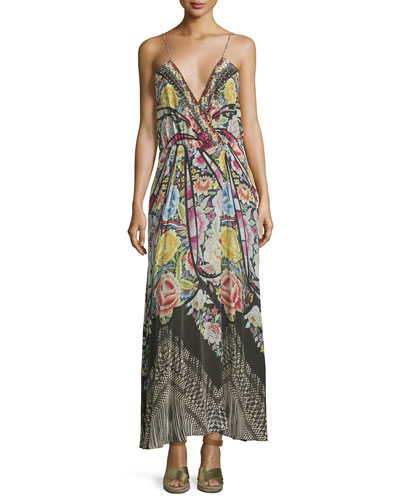 Embellished Faux-Wrap Maxi Dress, Black/Multi