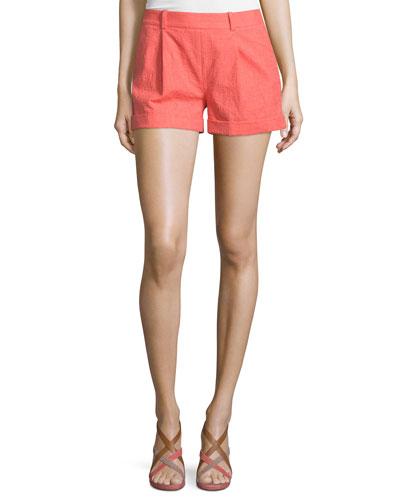 Gillian Mid-Rise Woven Shorts, Ocean Coral