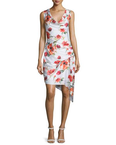 Sleeveless Floral-Print Asymmetric Dress, Swan/Coral/Multi