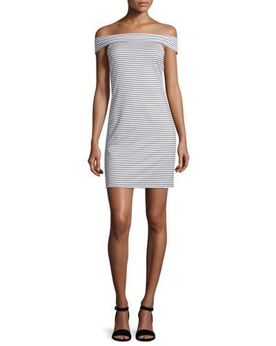 Skye Off-The-Shoulder Striped Dress, Black/White