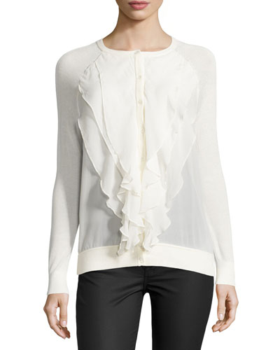 Long-Sleeve Ruffle-Front Cardigan, Swan