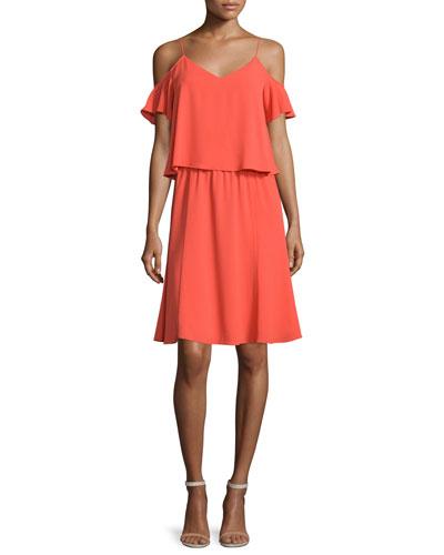 Selin Cold-Shoulder Popover Dress, Orange