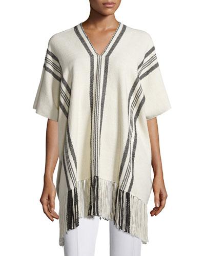 Striped V-Neck Poncho, Ecru/Black Stripe