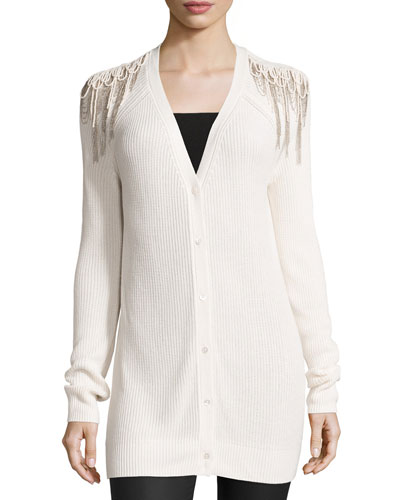 Luxe Knit Shoulder-Fringe Cardigan, Antique Ivory
