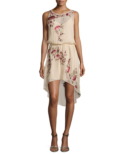 Sleeveless Floral-Embroidered Dress, Swan/Multi