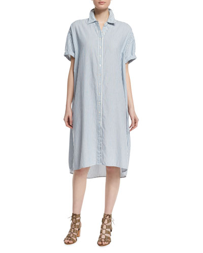The Camper Short-Sleeve Shirtdress, Blue Mattress Stripe