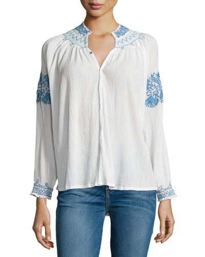 The Traveler Embroidered Top, Cream/Blue