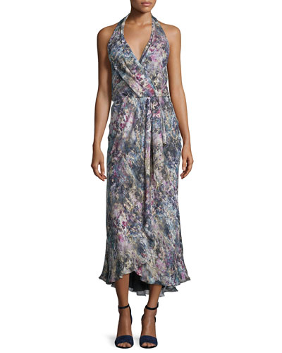 Halter-Neck Faux-Wrap Dress, Swan/Multi