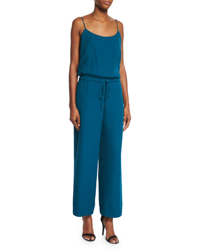 Sleeveless Wide-Leg Cropped Jumpsuit, Teal