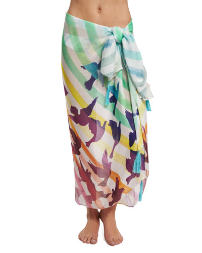 Prismatic Printed Sarong Coverup
