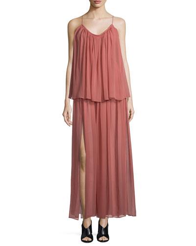 Mael Sleeveless Tiered Maxi Dress, Peach Nougat