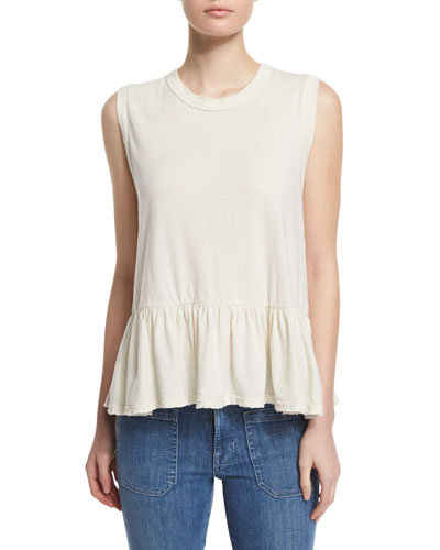 The Sleeveless Ruffle Tee, Washed White