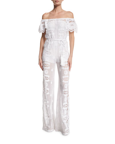 Brisa Off-The-Shoulder Lace Jumpsuit Coverup