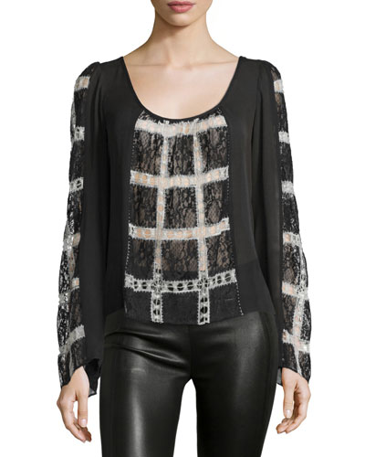Adriana Long-Sleeve Combo Top, Black/Ivory