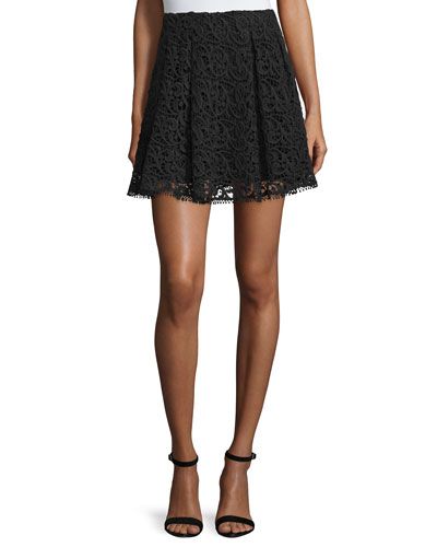 Crochet-Lace Pleated Mini Skirt, Black