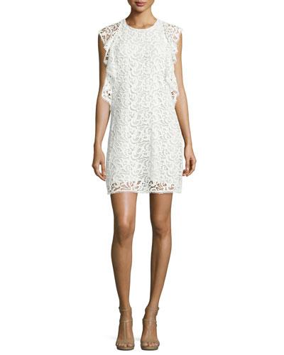 Crochet Lace Flounce Dress, White