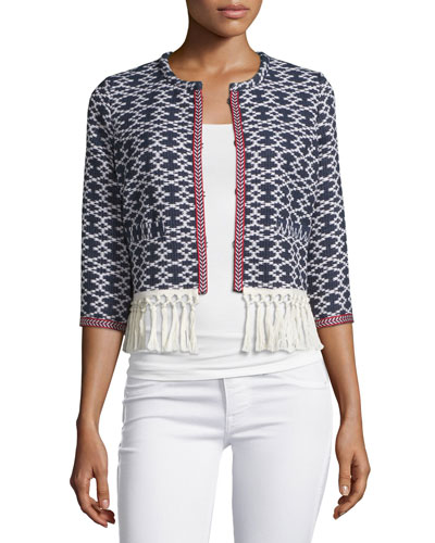 3/4-Sleeve Fringe-Trim Jacket, Navy Combo