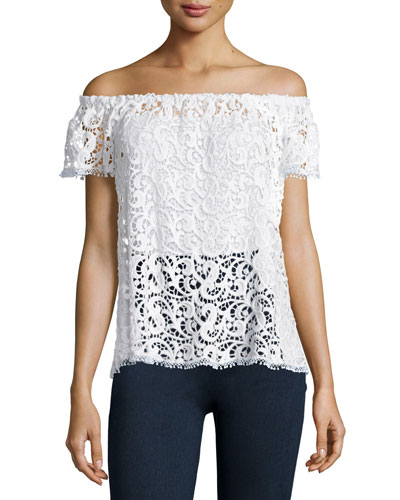Off-The-Shoulder Crochet Lace Top, White