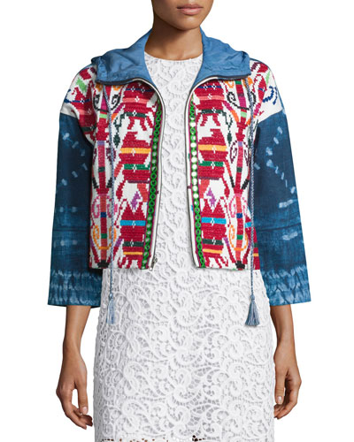 Mexican Hand-Embroidered Short Jacket, Multi Colors