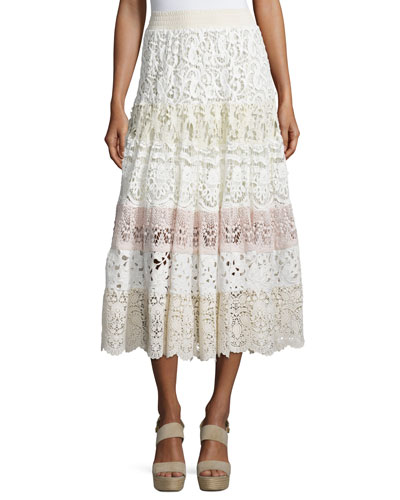 Crochet Lace Tiered Midi Skirt, Neutral/Multi