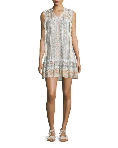 Sleeveless Flounce-Hem Dress, Sedona Print