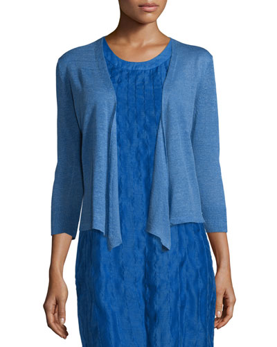 4-Way Linen-Blend Knit Cardigan, Gulf
