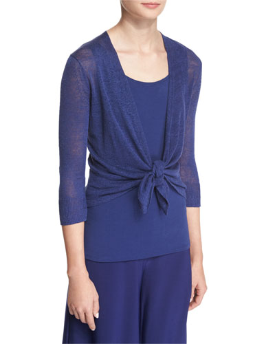 4-Way Linen-Blend Knit Cardigan, Abyss