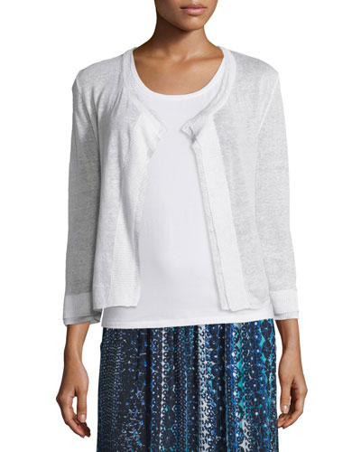 Double-Trim Cardigan, Paper White, Plus Size