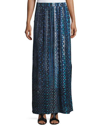 Fountain Hand-Painted Maxi Skirt