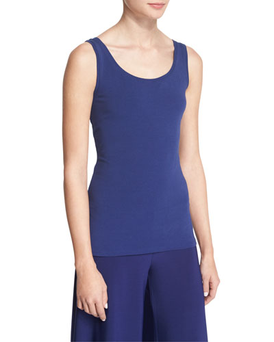 Perfect Jersey Scoop-Neck Tank, Abyss, Petite