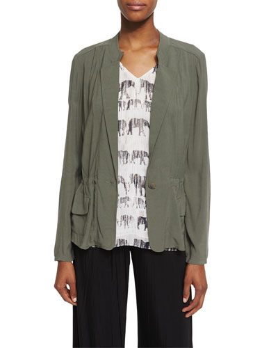 Femme One-Button Utility Jacket, Dusty Olive, Plus Size