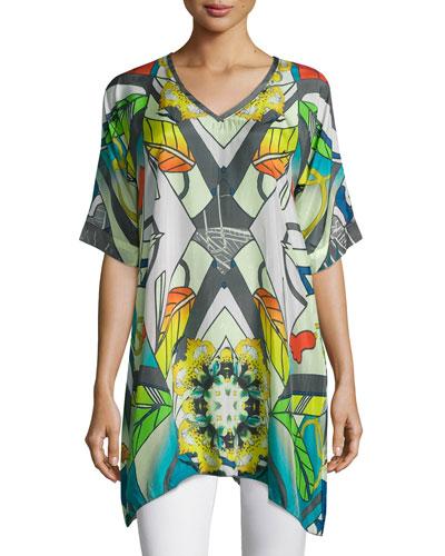 Half-Sleeve Overlay Printed Tunic, Plus Size