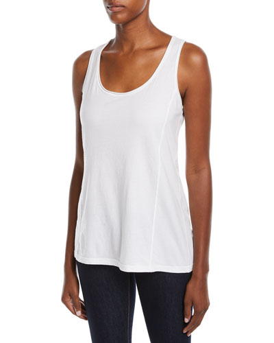 Scoop-Neck Knit Tank, White