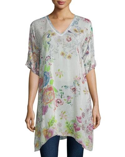 Short-Sleeve Floral-Print Tunic