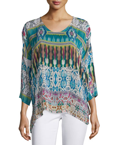 3/4-Sleeve Printed Tunic, Plus Size