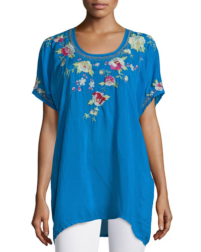 Blooming Bouquet Short-Sleeve Embroidered Blouse, Plus Size